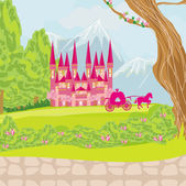 Beautiful fairytale pink castle  — 图库矢量图片