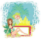 Grunge banner met palmbomen en sexy meisje — Stockvector