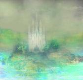 Abstraktní krajina s starý hrad — Stock fotografie