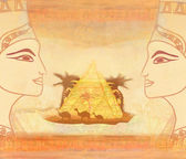 Vintage card with Egyptian queen  — 图库照片