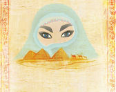 Arabian woman in the desert — Stock Photo