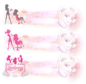Hairdressing salon icon - set of banners — Photo