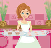 Housewife serving cookies — Stock Vector