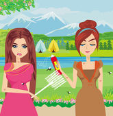 Girls trying to kill a mosquito  — Vector de stock