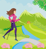 Nordic walking - active woman exercising outdoor  — Stock Vector
