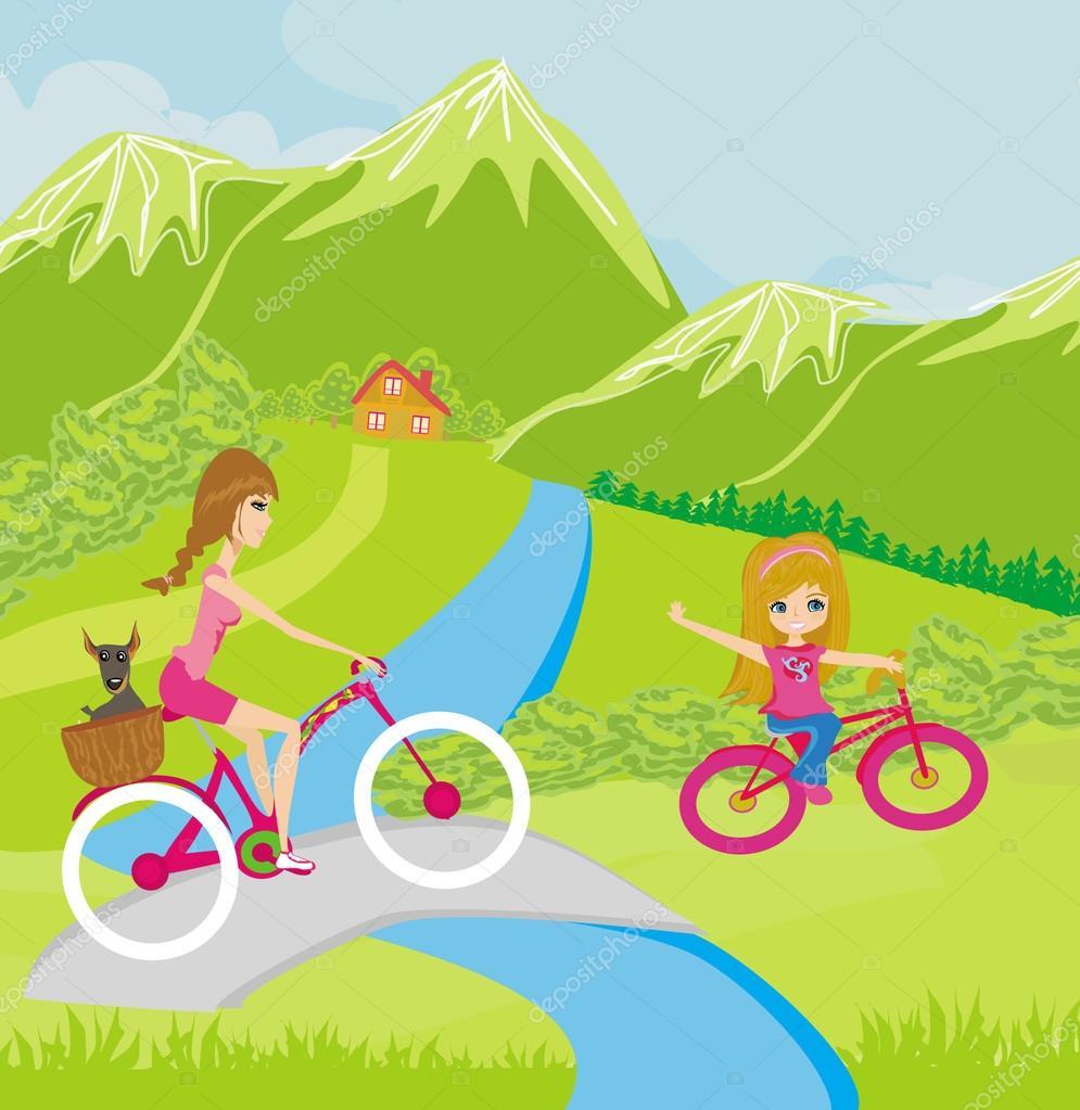 母亲和女儿在公园里骑自行车