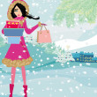 Beautiful woman doing the shopping in winter  — Stock Vector #49170107