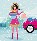 Beautiful woman doing the shopping in winter  — Stock Vector