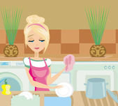 Housewife washing the dishes — Stock Vector