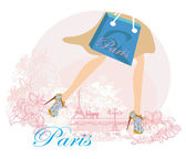 Women Shopping in Paris , close-up of legs — Stock Vector