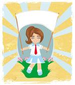 Happy schoolgirl , abstract card — Stock Vector
