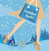 Noel alışveriş - kış satış kartı — Stok Vektör