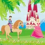 Prince riding a horse to the princess — Stock Vector #49936949