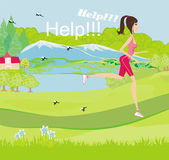 Girl runs away from mosquitoes — Stock Vector