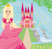 Beautiful young queen in front of her castle  — Stock Vector