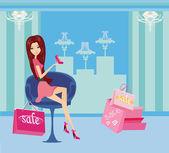 シューズ ショップでのショッピングのファッションの女の子 — ストックベクタ