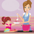 Mother and daughter tests food in the kitchen — Vector de stock