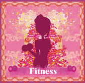 Fit woman exercising - silhouette,abstract card  — Stock Vector