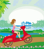 Motorcycle girl on a sunny day  — Stock Vector