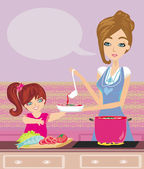 Mother and daughter tests food in the kitchen — Stock Vector