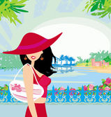 Elegant woman on tropical vacation  — Vector de stock