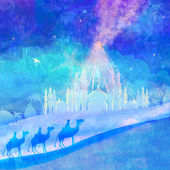 Classic three wise men scene and shining star of Bethlehem  — Stock Photo