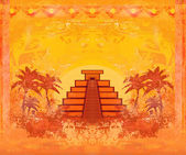 Mayan Pyramid, Chichen-Itza, Mexico - grunge abstract background — Stock Photo