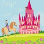 Prince riding a horse to the princess — Stock Vector #51385197