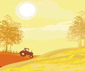 Tractor plowing field in autumn  — Stock Vector