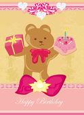 Birthday card, sweet teddy bear holding a birthday cake  — Stock Vector