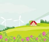 Eco farming - landscapes — Stock Vector