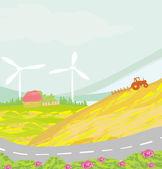 Farmer plowing the field — Stock Vector