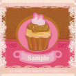 Vintage card with cupcake — Stock Vector #9919761
