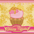 Vintage card with cupcake — Stock Vector #9971082