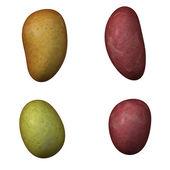 Four potato isolated on white — Stock Photo