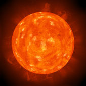 Red hot sun background — Stock Photo