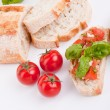 Deliscious fresh bruschetta appetizer with tomatoes isolated — Стоковая фотография