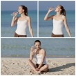 Woman drinking water from a bottle on the beach collage — Stock Photo