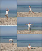 Man makes yoga sports on the beach collage — Stock Photo