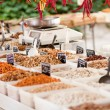 Variation of nuts on market outdoor in summer — Stock Photo