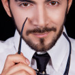 Business man with tie and glasses and beard portrait - 图库照片