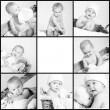 Cute little baby monochrome collage — Stock Photo