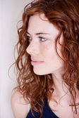 Beautiful red head woman with freckle smiling — Stock Photo