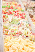 Delicious assortement of sweets on market — Stock Photo
