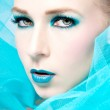 Beautiful woman with extreme colorfull make up in turquoise — Stock Photo #15633079
