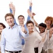Stock Photo: Happy business team group together