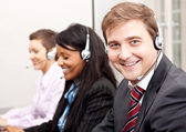 Callcenter service communication in office — Stock Photo