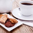 Sweet cookies biscuit with black coffee — Stock Photo
