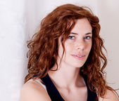 Beautiful red head woman with freckle smiling — Foto de Stock