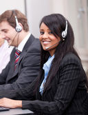 African business woman with headset callcenter — Stock Photo